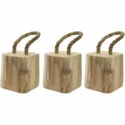 3x deurstoppers houten blok touw 15 cm
