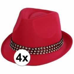 4x voordelige roze toppers hoed zilveren steentjes