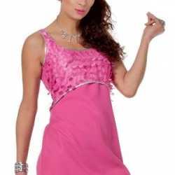 cef0ac47bc6fe0 Dames disco jurk roze franjes