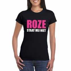 Roze staat mij niet toppers t shirt zwart dames