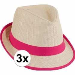 Roze toppers strandhoedjes 3 stuks