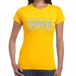 Topper t shirt geel zilveren glitters dames