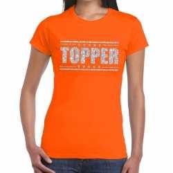Topper t-shirt oranje zilveren glitters dames