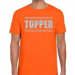 Topper t shirt oranje zilveren glitters heren