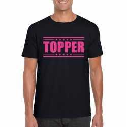 Topper t shirt zwart roze bedrukking heren