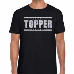 Topper t shirt zwart zilveren glitters heren