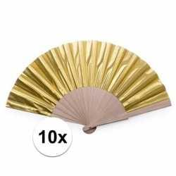 Toppers 10x gouden spaanse handwaaiers 42 cm
