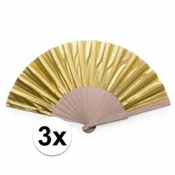 Toppers 3x gouden spaanse handwaaiers 42 cm
