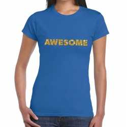 Toppers awesome goud glitter tekst t shirt blauw dames