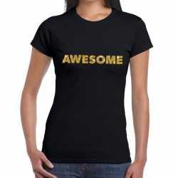 Toppers awesome goud glitter tekst t shirt zwart dames