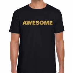 Toppers awesome goud glitter tekst t shirt zwart heren