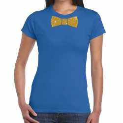 Toppers blauw fun t shirt vlinderdas in glitter goud dames