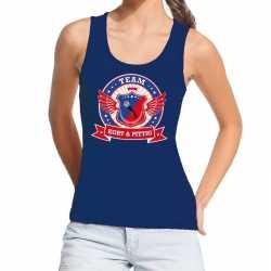 Toppers blauw kort pittig team tanktop / mouwloos shirt dame