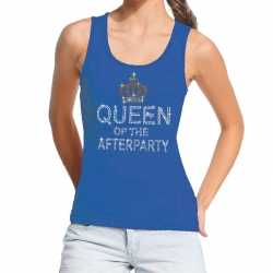 Toppers blauw toppers queen of the afterparty glitter tanktop dames