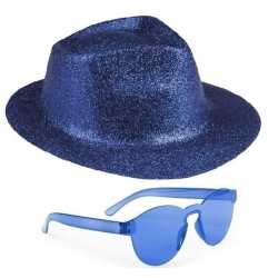 Toppers blauw trilby glitter party hoedje blauwe zonnebril