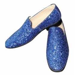 Toppers blauwe glitter disco instap schoenen heren