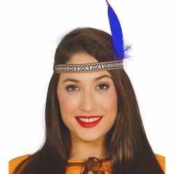 Toppers blauwe indianen veer verkleed accessoire