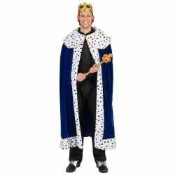Toppers blauwe koning cape/mantel volwassenen