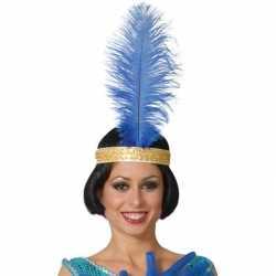 Toppers blauwe pauwenveer charleston/jaren 20 verkleed accessoire 40