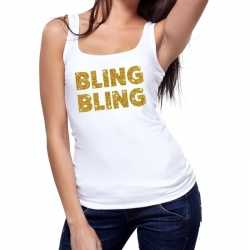 Toppers bling bling glitter tanktop / mouwloos shirt wit dames