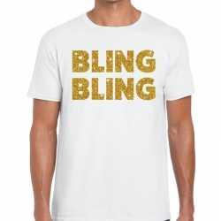 Toppers bling bling glitter tekst t shirt wit heren
