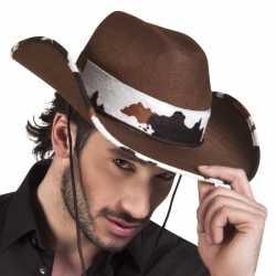 Toppers bruine cowboyhoed texas koeienprint volwassenen