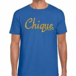 Toppers chique goud glitter tekst t shirt blauw heren