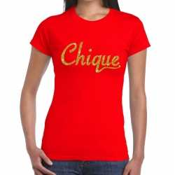 Toppers chique goud glitter tekst t shirt rood dames