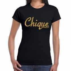 Toppers chique goud glitter tekst t shirt zwart dames