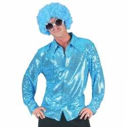 Toppers disco pailletten blouse blauw heren