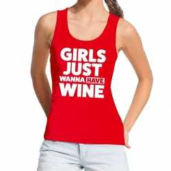 Toppers girls just wanna have wine tanktop / mouwloos shirt rood dame