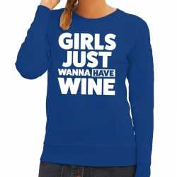 Toppers girls just wanna have wine tekst sweater blauw dames