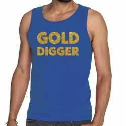 Toppers gold digger glitter tanktop / mouwloos shirt blauw heren