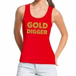 Toppers gold digger glitter tekst tanktop / mouwloos shirt rood dames