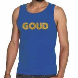 Toppers goud glitter tanktop / mouwloos shirt blauw heren