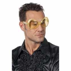 Toppers Gouden disco bril diamanten