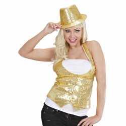 Toppers Gouden gilet pailletten dames