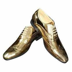 Toppers gouden glimmende royal disco brogues/disco schoenen heren