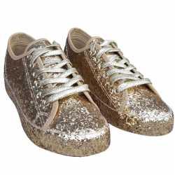 Toppers gouden glitter disco sneakers/schoenen dames