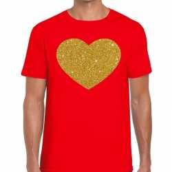 Toppers gouden hart glitter fun t shirt rood heren