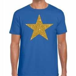 Toppers gouden ster glitter fun t t shirt blauw heren