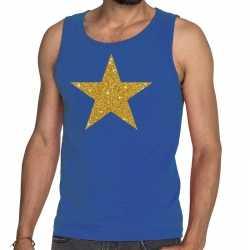 Toppers gouden ster glitter tanktop / mouwloos shirt blauw heren