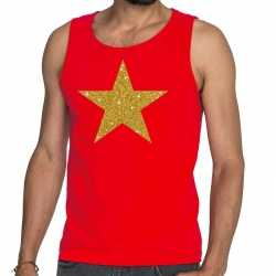 Toppers gouden ster glitter tanktop / mouwloos shirt rood heren