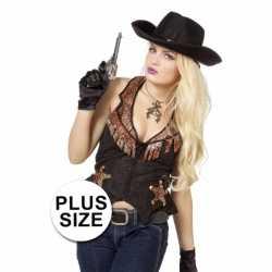 Toppers grote maat cowboy vest dames