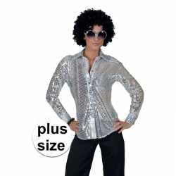Toppers grote maat zilveren disco verkleed blouse dames