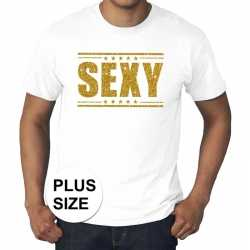 Toppers grote maten sexy t shirt wit gouden letters