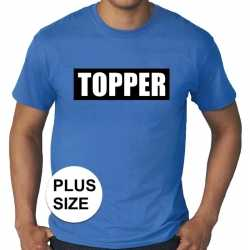 Toppers grote maten topper in kader t shirt blauw heren