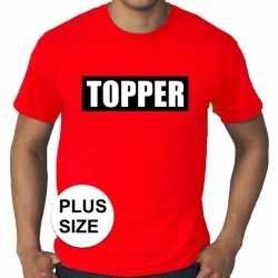 Toppers grote maten topper in kader t shirt rood heren