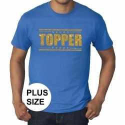 Toppers grote maten topper shirt blauw gouden glitters heren