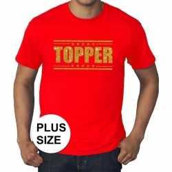 Toppers grote maten topper shirt rood gouden glitters heren